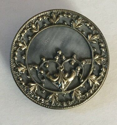 Celluloid Background Ornate Metal Large Antique Button Old Fancy