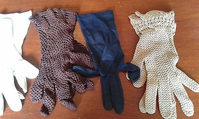 Vintage Selection 4 Pairs Crochet Gloves & 1 Pair White Gloves Small Size