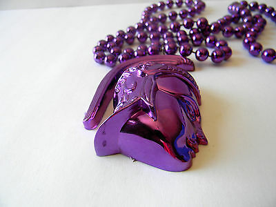 Purple Mardi Gras Bead Necklace New Orleans Carnival Party