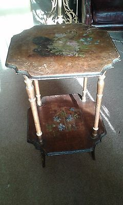 Edwardian Antique 2 Tier Table Decorative Painted with Flowers