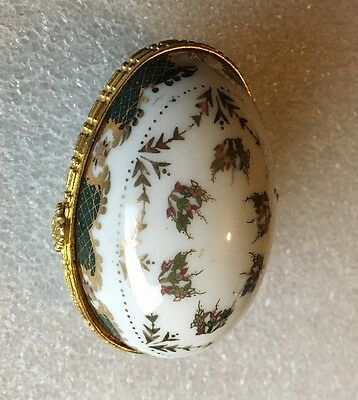 Vintage Porcelain Egg Collectable Trinket Box Ornament with Hinged Lid