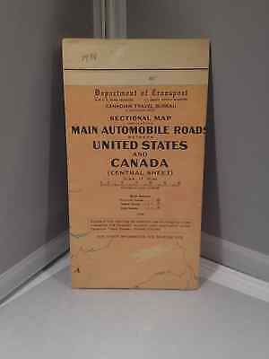 Map 1938 Main Automobile Roads in US & Canada
