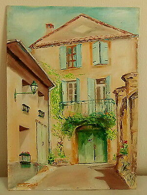 Oil Painting - House With Green Door - Signed A C Thomas