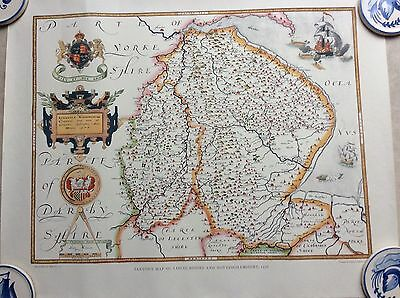 SAXTON'S MAP OF LINCOLN & NOTTINGHAMSHIRE c1576, PRINT BY TAYLOWE IN 1959