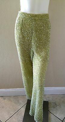 VTG Rare 50's Nora Martin Light Green Palazzo Wide Leg Sequins Lined Pants Sz 26