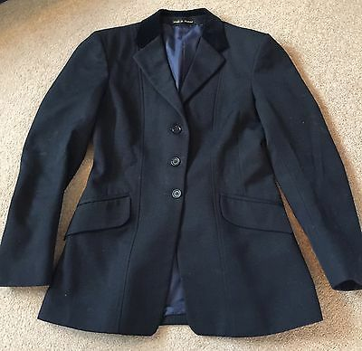 """Ladies Black show jacket size 36"""" UK 10-12 Hunting Showing, Wool Made In England"""