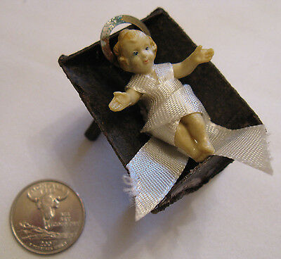 "Ext.rare Small 2"" Baby Jesus In Paper Manger Vintage"