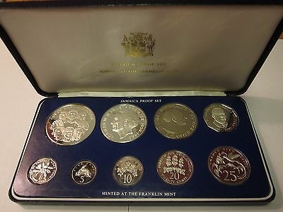 1978 Jamaica Proof Set ~  Franklin Mint 9 coin set ~ inc. $5 & $10 coins  w/ Box