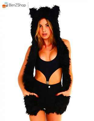 Top Quality iHeartRaves Panther Rave Spirit Fluffy Furry Hood (Black) *NEW*