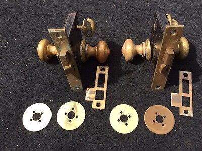 Matching Antique Deco Brass Door Knobs w/ Rosettes, back plates and mortises