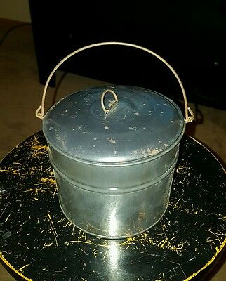 Vintage Antique Tin Metal Lunch Box Pail