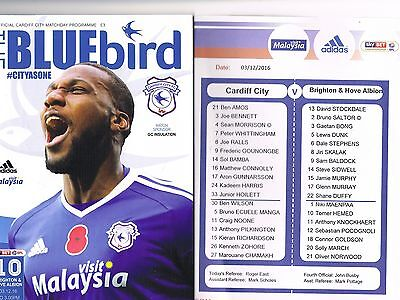 Cardiff City v Brighton & Hove Albion  16/17 + Official Teamsheet