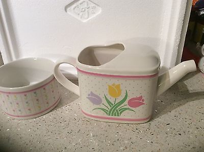 Teleflora Decorative Flowers Ceramic Watering Can And Planter
