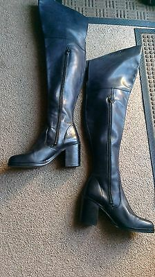 Clash Over Knee Thigh High Luxury Black Leather block Heeled Boots uk4/37 Winter