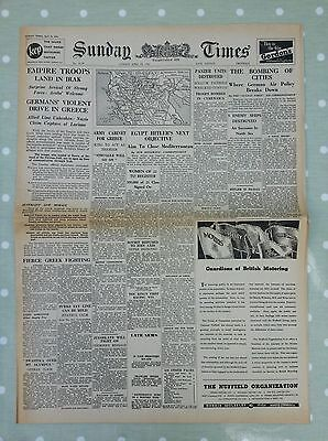 Vintage Sunday Times Newspaper. April 20Th.london.1941.late Edition.  8 Page's.