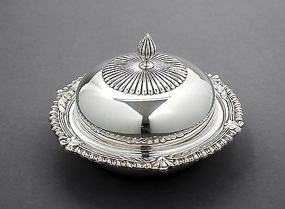 Antique silver plate small dome muffin/butter dish gadroon shell border liner