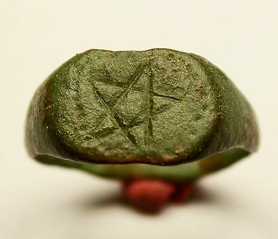 Magic! Rare Ancient Roman Bronze Ring With Pentagram On Bezel