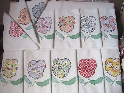 """Lot of 12 PANSY QUILT BLOCKS 8.5"""" sq. Hand-Applique & Embroidered c1930-45 MINT"""