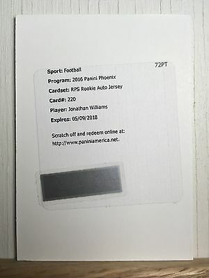 Jonathan Williams 2016 Panini Phoenix RPS Rookie Auto Jersey Redemption