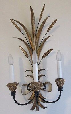 Italian TOLE WHEAT & BOW SCONCE 3 Light Black & Gold Gilt Tole Metal & Wood 24""