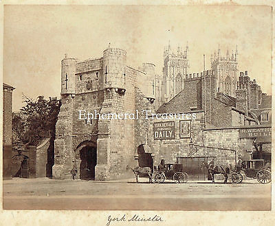 Horse and Carriages, York Minster, Yorkshire.  Superb 1880s Photograph