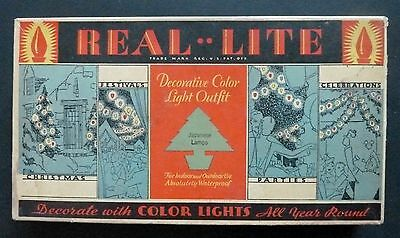 Vintage Real Lite Christmas Lights Box Nice Condition Graphics BOX - Works