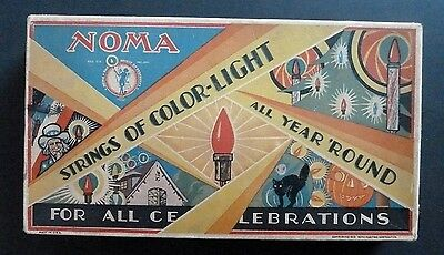 Vintage Noma #3000 Christmas Lights Box c. 1929 Great Holiday Graphics WORKS