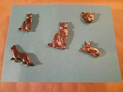 Five Gold-tone Vintage Kitty Cat Pins