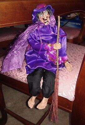 Halloween Witch Doll Decor Purple Fabric Dress Gift Hat Broom
