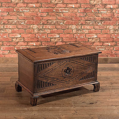 Antique Chest, Early 20th Century Carved Oak Trunk, English Country Coffer