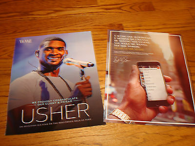 USHER 2016 2 ads for Hollywood Walk of Fame Star with list of his songs on phone