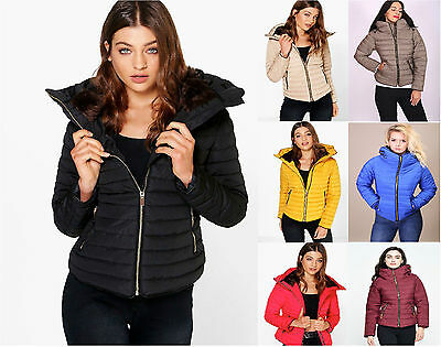 New Womens Ladies  Quilted Padded Puffer Bubble Fur Collar Warm Thick Jacket