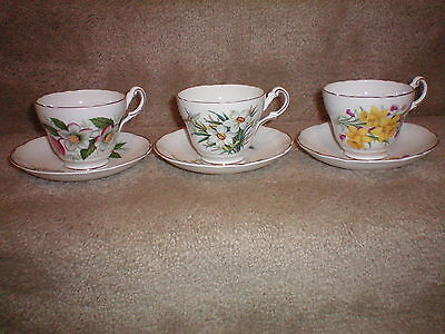 Vintage Regency English Tea Cups & Saucers Bone China (3) Made in England