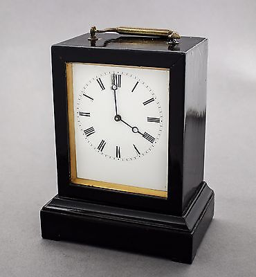 Antique French ebonised case carriage clock enamel dial Roman numerals key works