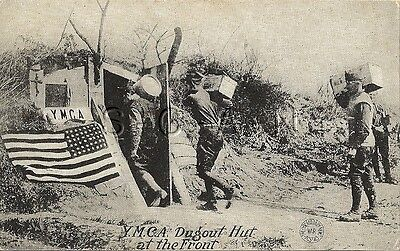WWI US Postcard- Army- YMCA Dugout Hut at the Front- Bunker- Flag- 1917-18