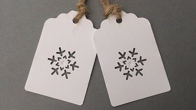 15 x White Tags with Cut Out Snowflake  /Christmas / Gift/ Vintage /Xmas