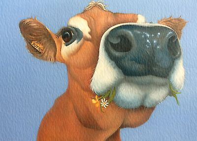 jersey cow painting fine art giclee print by artist Lizzie Hall
