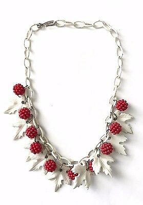 Vintage Plastic Celluloid Leaf and Berry Dangle Charm Necklace