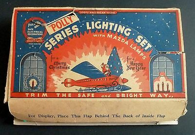 Vintage Polly's Christmas Lights Set Santa on Plane Graphics Box