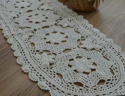 "34"" Oblong White Floral Hand Crochet Lace Table Runner"