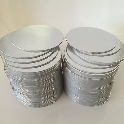 "50 x 3"" Inch ROUND THIN CUT EDGE SILVER Cake boards cards sugarcraft christmas"