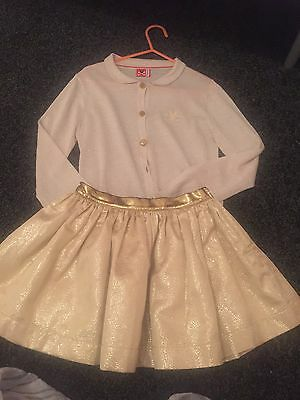No Added Sugar Gold Skirt And Gold Cardigan Age 5-6 Mona Mack Winter NAS
