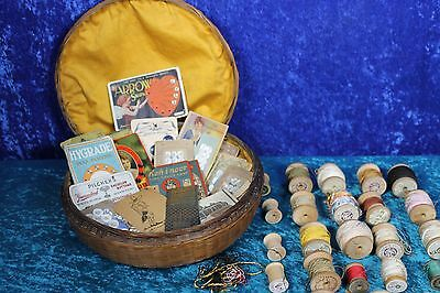 ANTIQUE ASIAN WICKER SEW BASKET/GLASS RING1900's? SILK LINING-BUTTONS-SPOOLS ETC