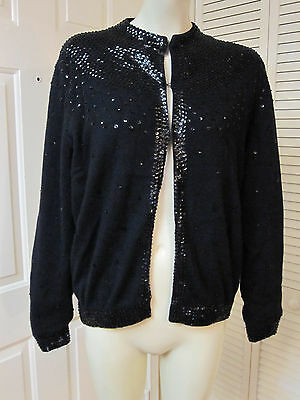 Vintage 60's Hong Kong Sequined Beaded Unique Black Wool Sweater Cardigan L Xl