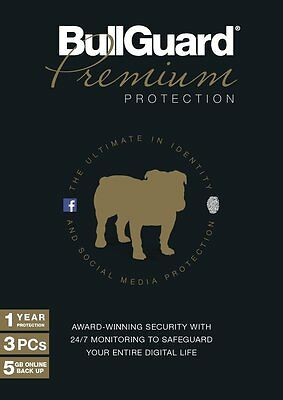 New BullGuard Internet Security Premium Protection 1 Year 5GB PC For 3 Users