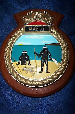 HMS MANLY  SHIPS BADGE PLAQUE SHEILD on WOOD