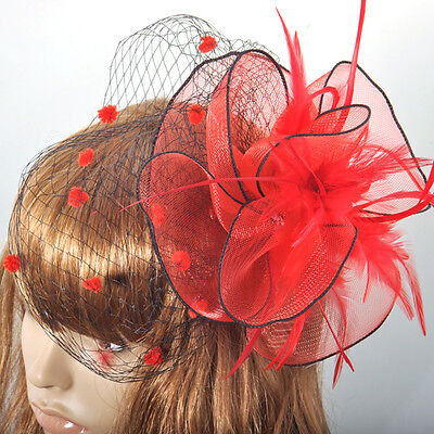 Party handmade feather red veil lady fascinator feather hair accessory clip
