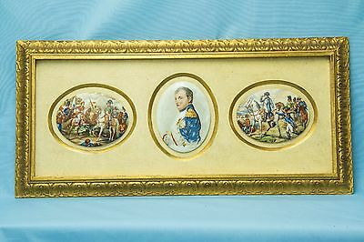 Hand Painted Framed Napoleon Napoleonic Porcelain Plaques
