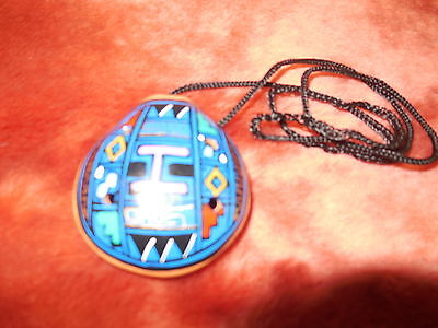 Tribal Hand Painted Clay Flute Whistle Pendant 8 Hole Striking Art Musical