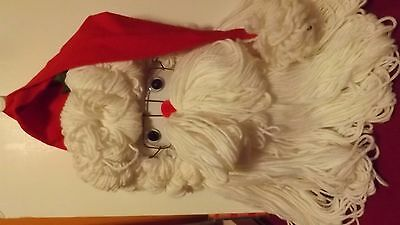 hand crafted Santa Claus face fabric & yarn/door/holiday/Christmas decoration